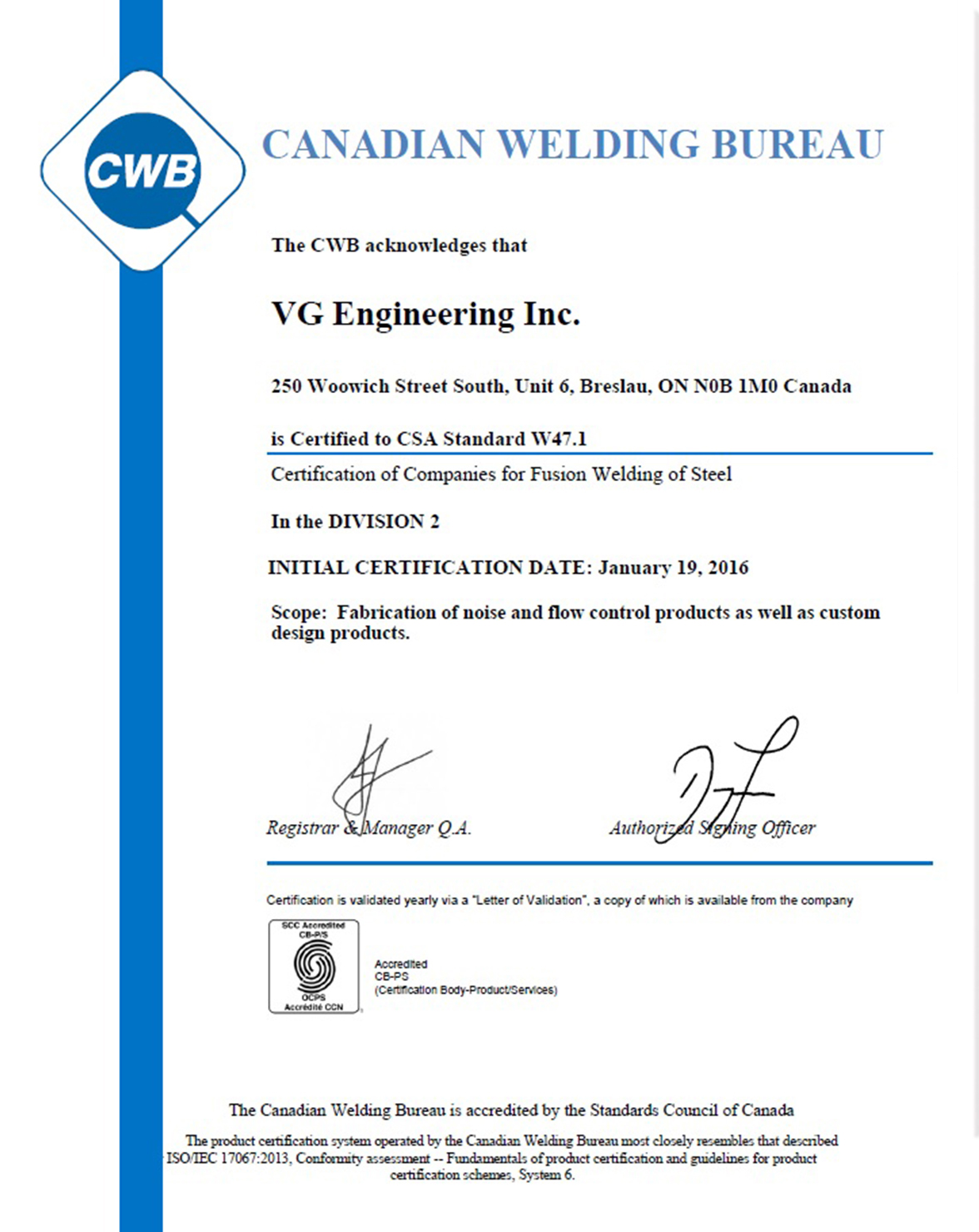 Certification and Quality System | VG Engineering