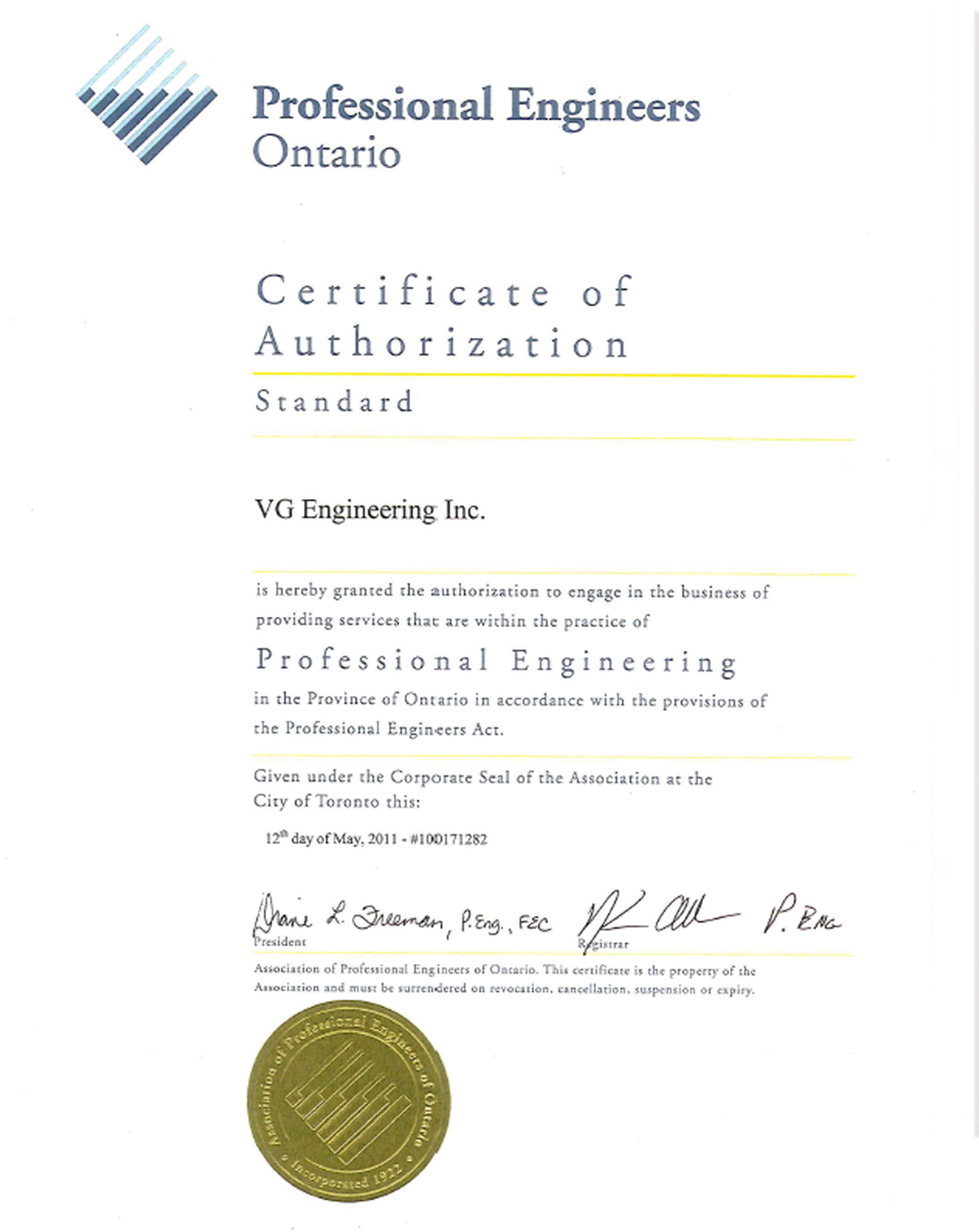 Certification And Quality System Vg Engineering